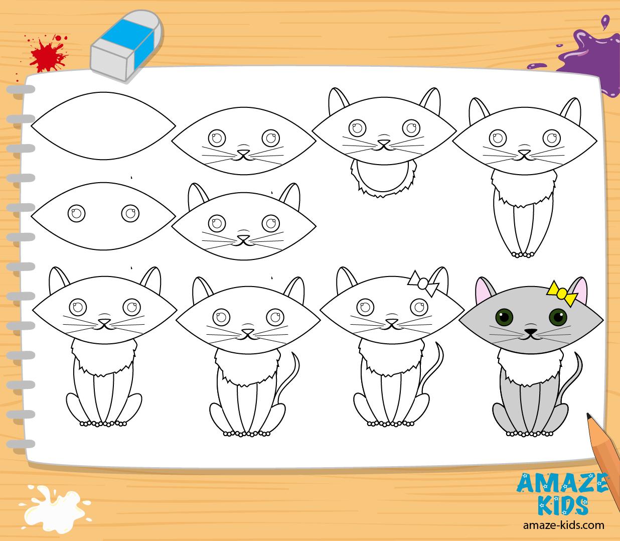 Как нарисовать кошку для детей
