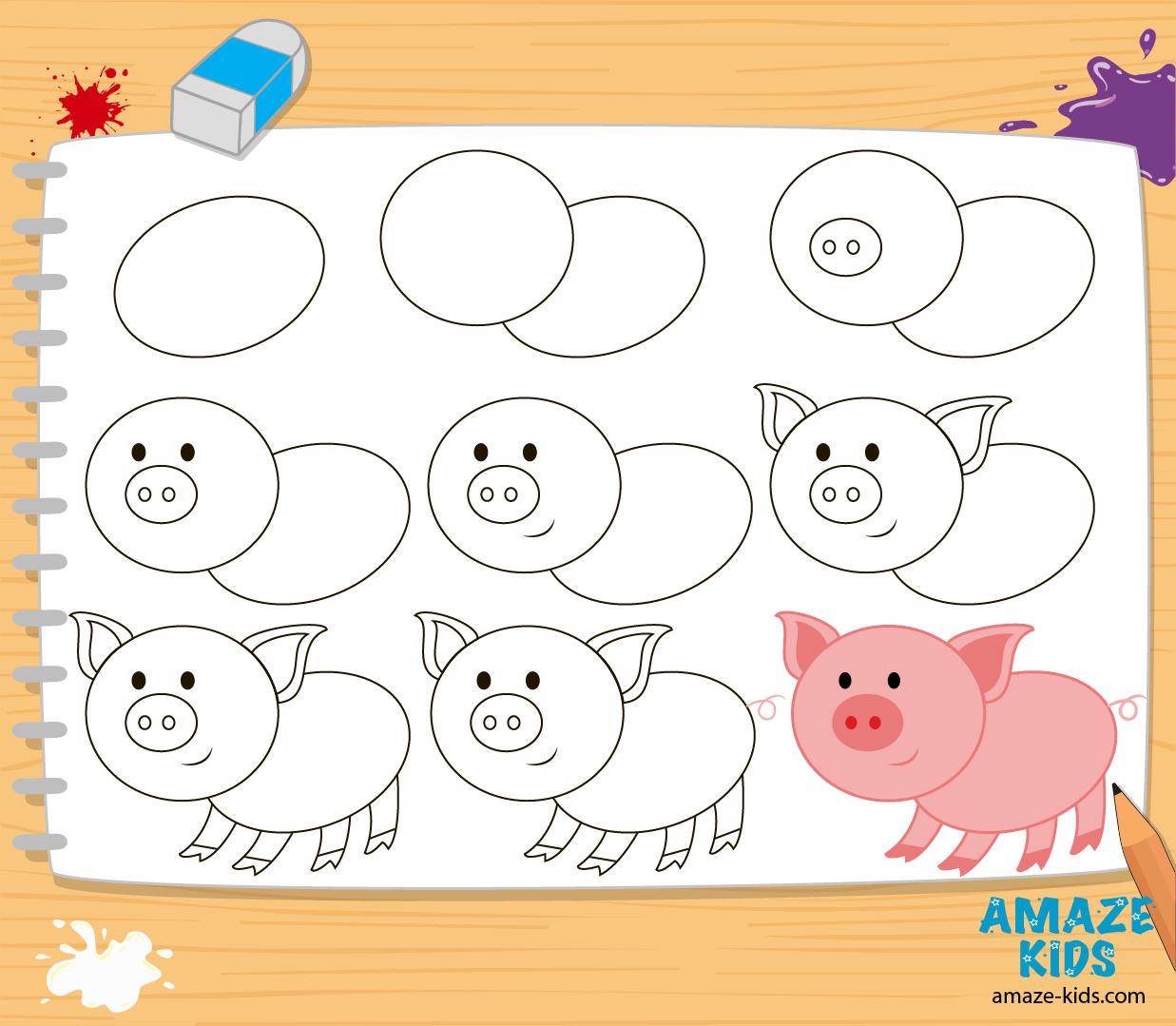 Как рисовать зверей для детей поэтапно