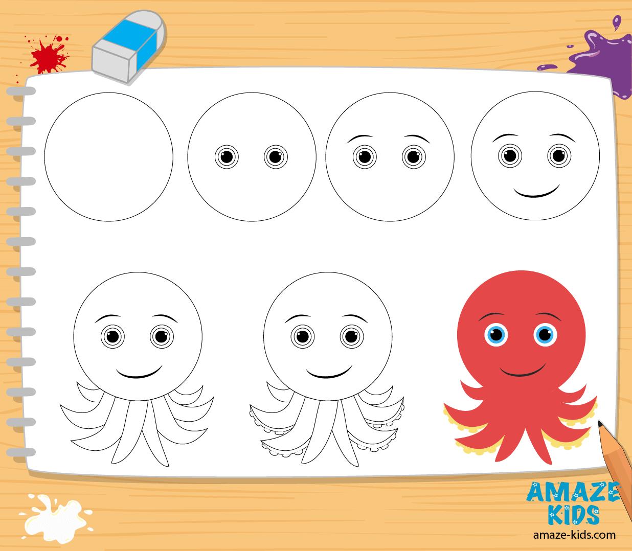 Как нарисовать осьминога: обучающее видео, картинки ...